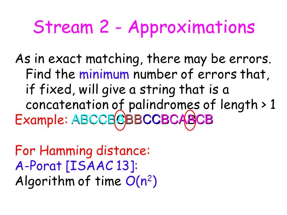 Palindrome with mismatches Start with 1 mismatch case.