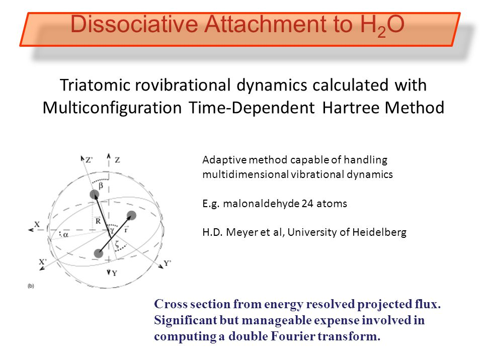 Triatomic rovibrational dynamics calculated with Multiconfiguration Time-Dependent Hartree Method Dissociative Attachment to H 2 O Cross section from energy resolved projected flux.
