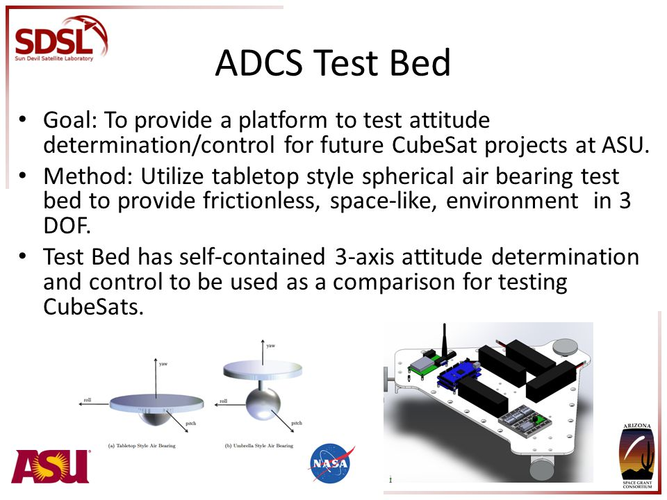 ADCS Test Bed Goal: To provide a platform to test attitude determination/control for future CubeSat projects at ASU.