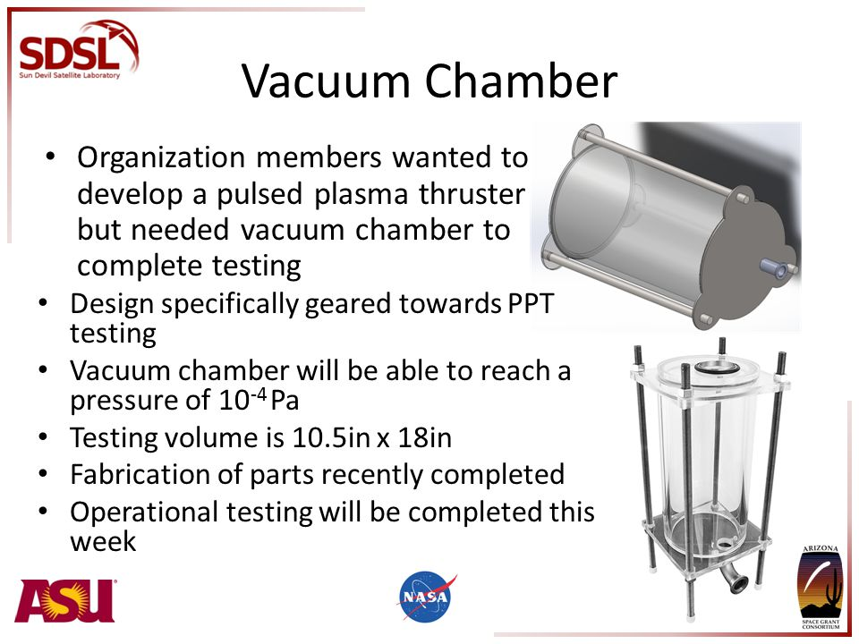 Vacuum Chamber Organization members wanted to develop a pulsed plasma thruster but needed vacuum chamber to complete testing Design specifically geared towards PPT testing Vacuum chamber will be able to reach a pressure of 10 -4 Pa Testing volume is 10.5in x 18in Fabrication of parts recently completed Operational testing will be completed this week