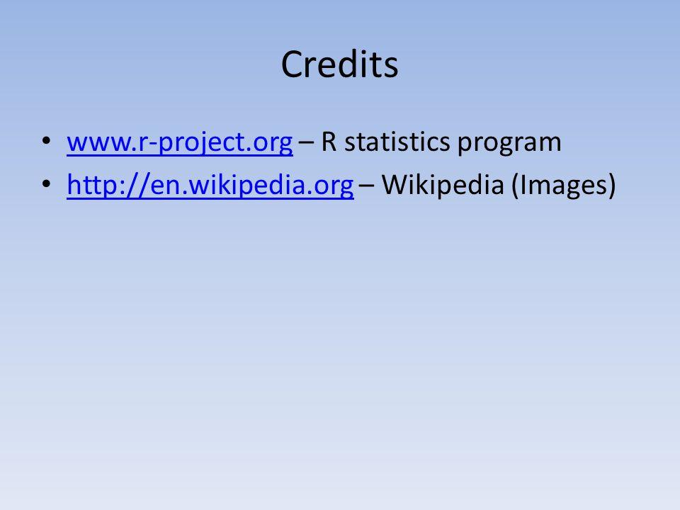 Credits www.r-project.org – R statistics program www.r-project.org http://en.wikipedia.org – Wikipedia (Images) http://en.wikipedia.org