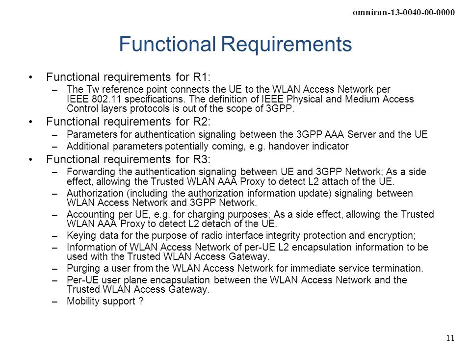 omniran-13-0040-00-0000 11 Functional Requirements Functional requirements for R1: –The Tw reference point connects the UE to the WLAN Access Network per IEEE 802.11 specifications.