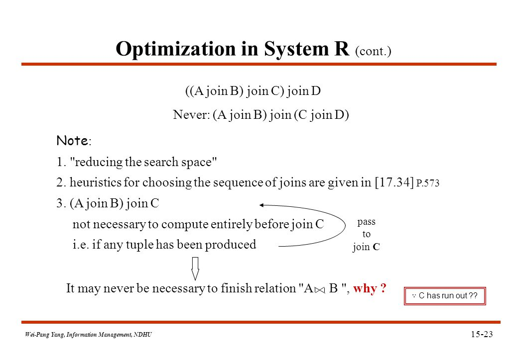 Wei-Pang Yang, Information Management, NDHU Optimization in System R (cont.) Note : 1.