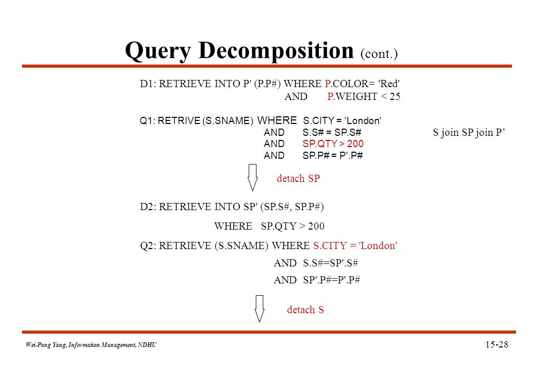 Wei-Pang Yang, Information Management, NDHU Query Decomposition (cont.) Q1: RETRIVE (S.SNAME) WHERE S.CITY = 'London' AND S.S# = SP.S# AND SP.QTY > 20