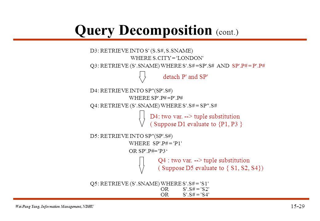 Wei-Pang Yang, Information Management, NDHU Query Decomposition (cont.) D3: RETRIEVE INTO S' (S.S#, S.SNAME) WHERE S.CITY = 'LONDON' Q3: RETRIEVE (S'.
