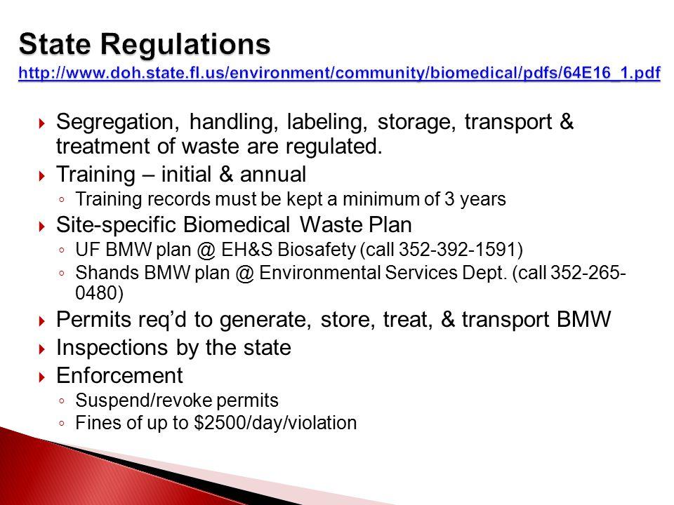 Segregation, handling, labeling, storage, transport & treatment of waste are regulated.