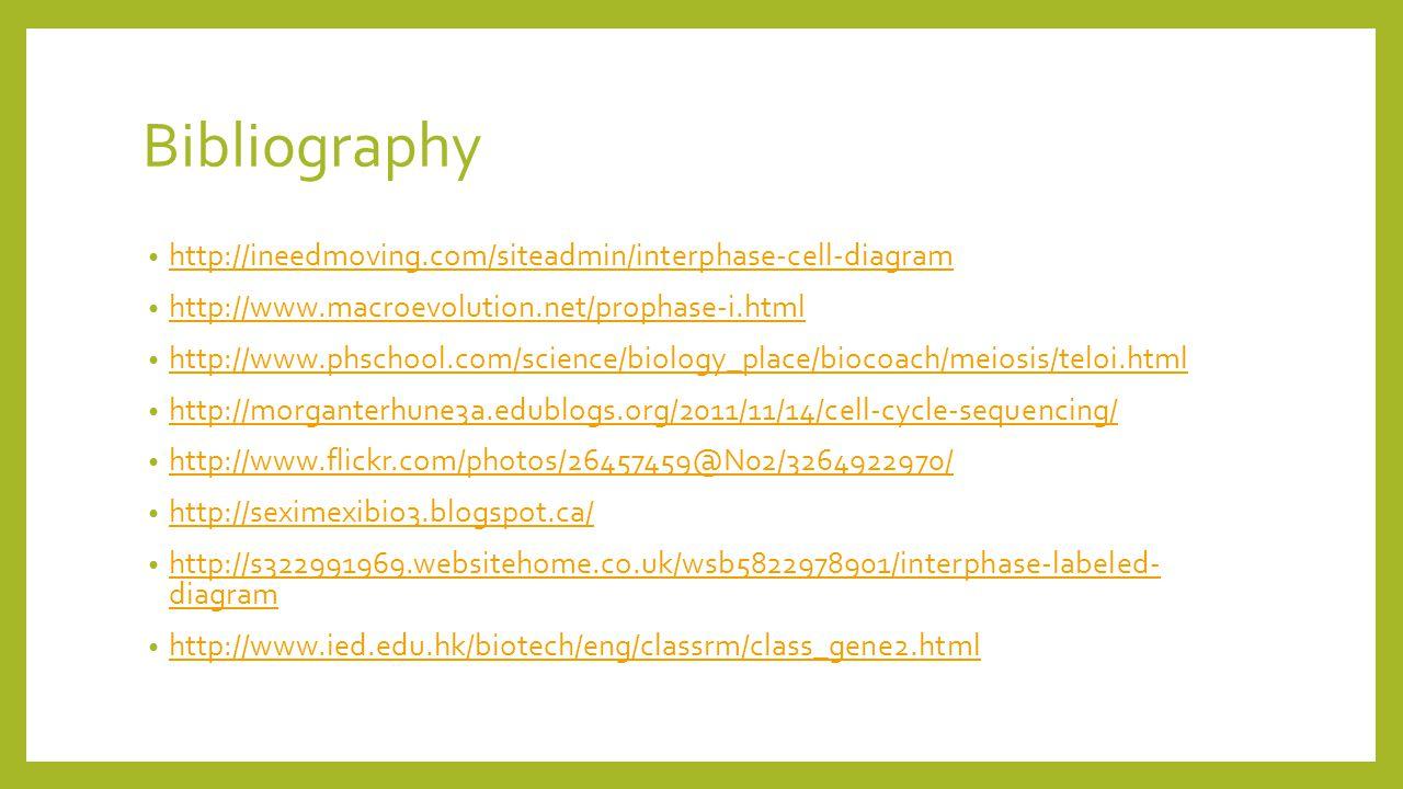 Bibliography http://ineedmoving.com/siteadmin/interphase-cell-diagram http://www.macroevolution.net/prophase-i.html http://www.phschool.com/science/bi