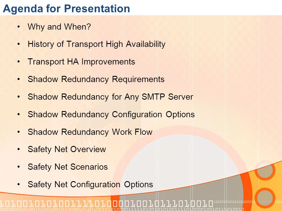 Agenda for Presentation Why and When.