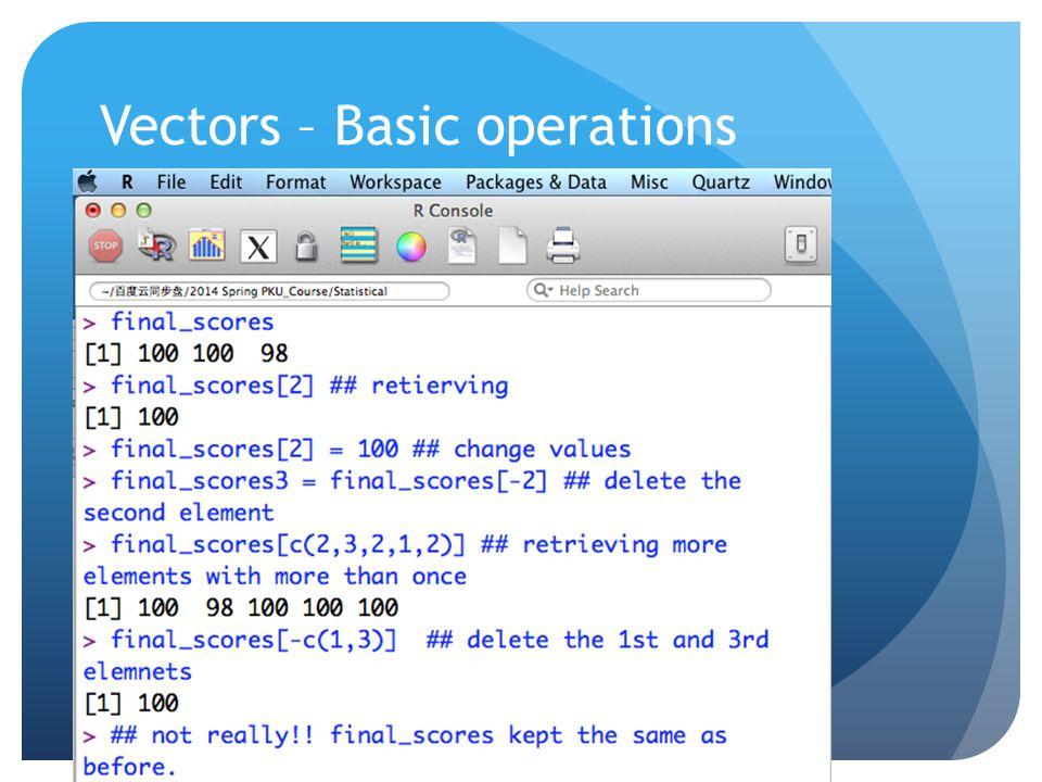 Vectors – Basic operations