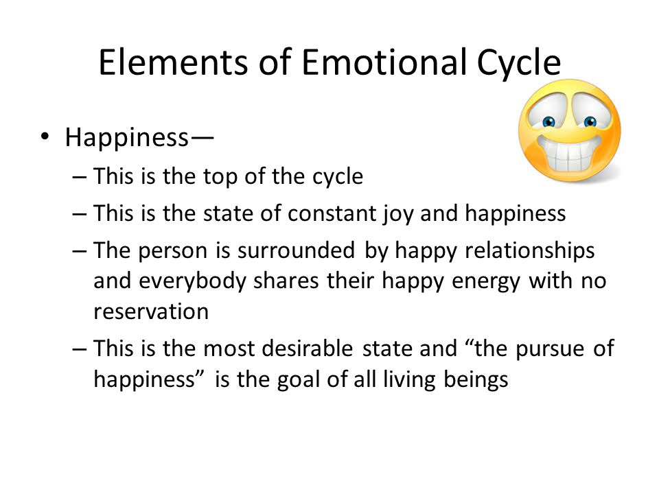 Elements of Emotional Cycle Fear— – This is the state of anxiety, nervousness and doubt – This is the realization that happiness (or anything else that was gained) does not last forever and will soon be lost – The person goes into a state of panic and the energy begins to retract in order to hold on and not letting go – This is the beginning of the down cycle