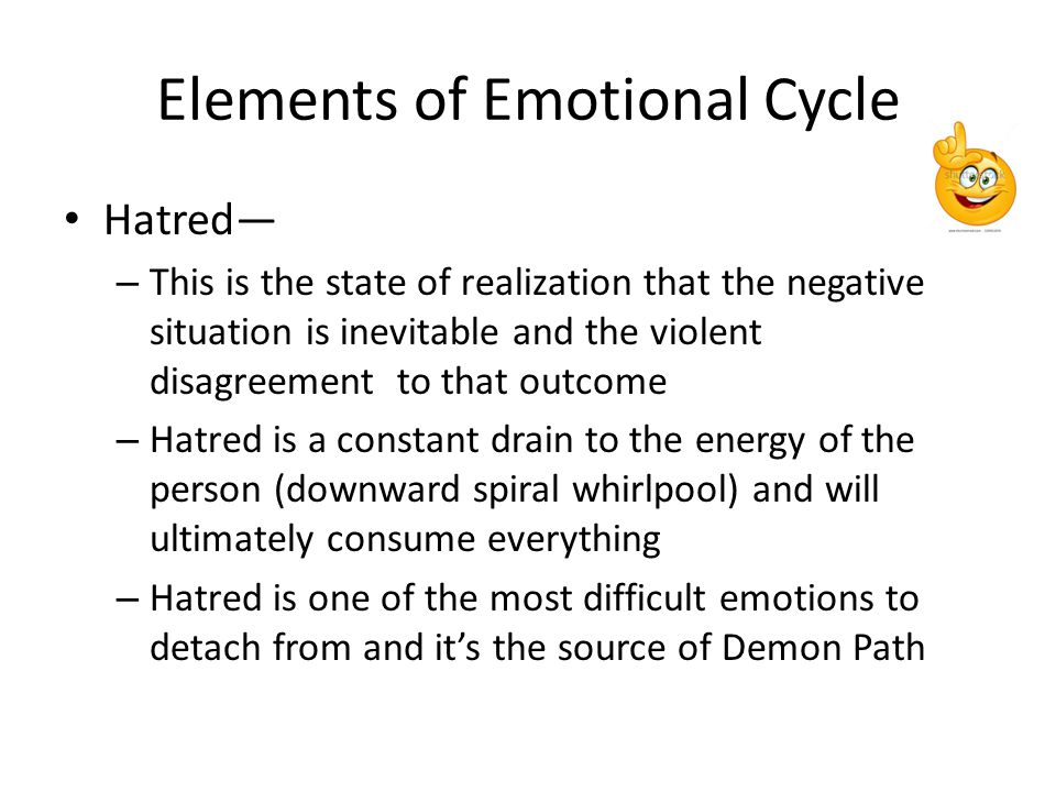 Elements of Emotional Cycle Despair— – This is the state of hopelessness and it is the final acceptance of the negative outcome – This is a state of the lacking of all energy and the person no longer has any mental or physical power to fight – This is also the bottom of the cycle, which means this is the same state as Poverty in the Wealth Cycle (and it's going up from here)