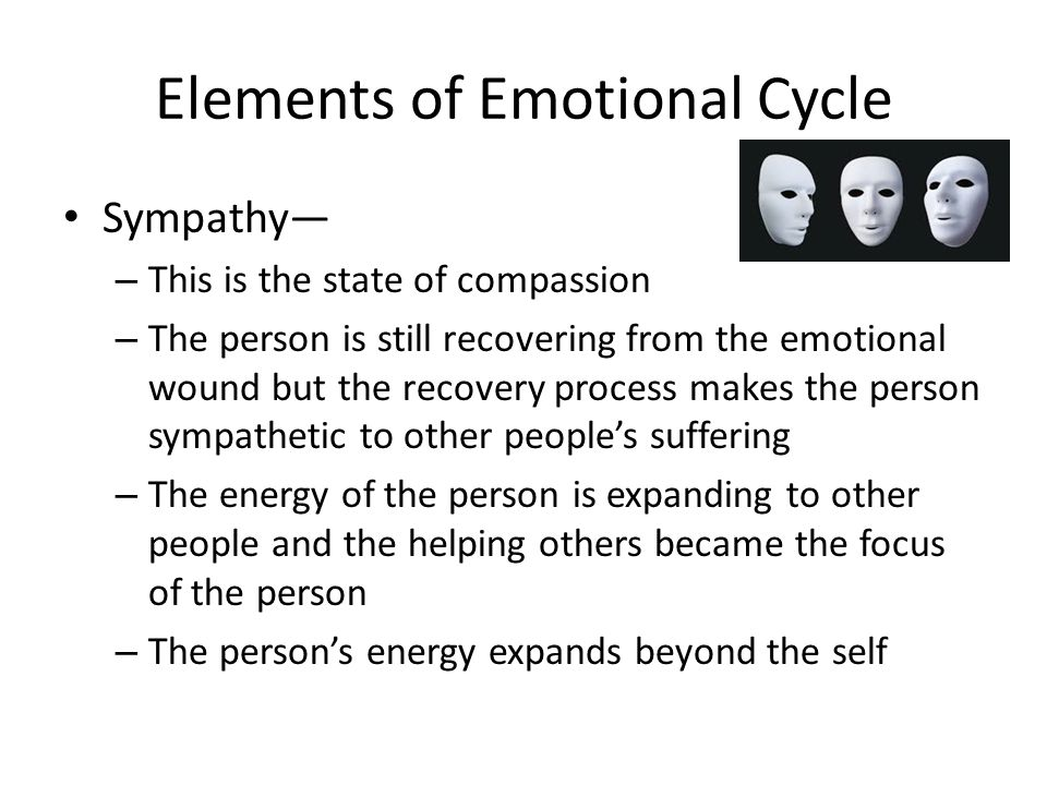 Elements of Emotional Cycle Love— – This is the state of the Union – In this state, a person merges spiritually with another person and the two become one – This is subsequent to the expansion of energy, which resulted in the strong connection and the ultimate union – This is the road leading to happiness