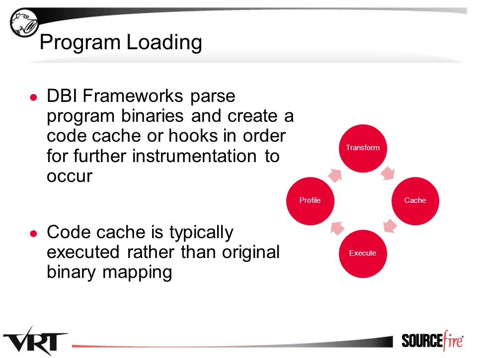 11 Program Loading ● DBI Frameworks parse program binaries and create a code cache or hooks in order for further instrumentation to occur ● Code cache