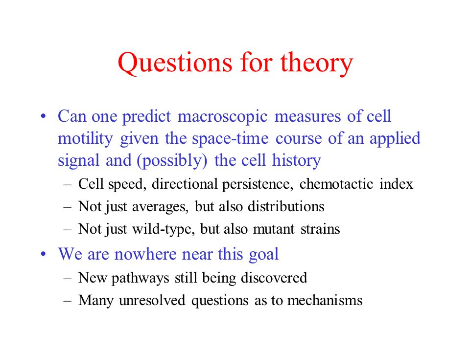 Questions for theory Can one predict macroscopic measures of cell motility given the space-time course of an applied signal and (possibly) the cell history –Cell speed, directional persistence, chemotactic index –Not just averages, but also distributions –Not just wild-type, but also mutant strains We are nowhere near this goal –New pathways still being discovered –Many unresolved questions as to mechanisms