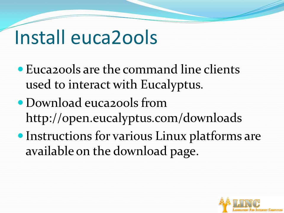 Install euca2ools Euca2ools are the command line clients used to interact with Eucalyptus.