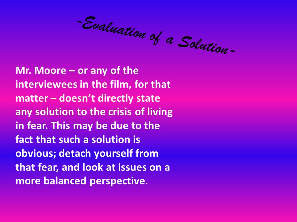 - Evaluation of a Solution- Mr.