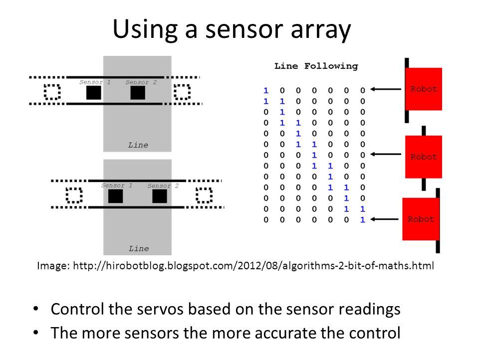 Using a sensor array Control the servos based on the sensor readings The more sensors the more accurate the control Image: http://hirobotblog.blogspot
