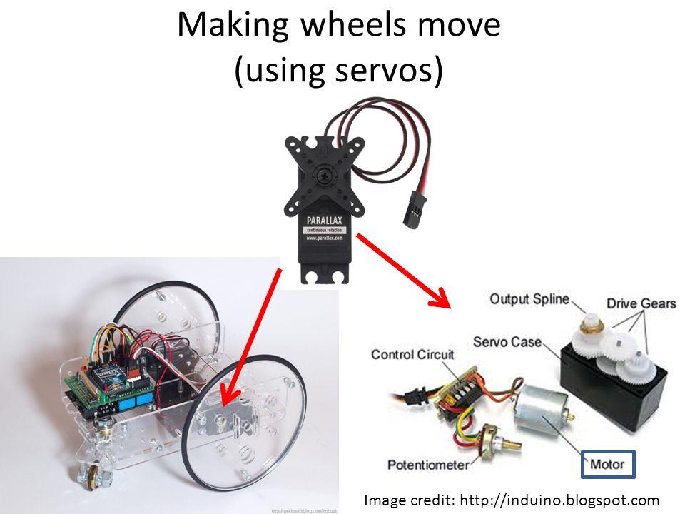 Making wheels move (using servos) Image credit: http://induino.blogspot.com