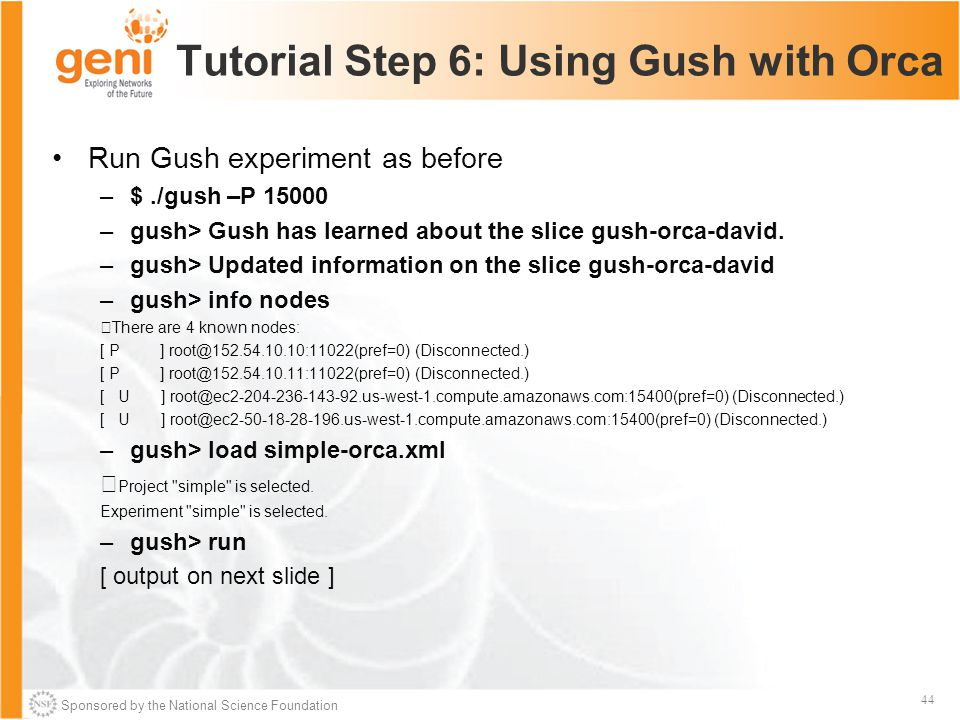 Sponsored by the National Science Foundation 44 Tutorial Step 6: Using Gush with Orca Run Gush experiment as before –$./gush –P 15000 –gush> Gush has learned about the slice gush-orca-david.