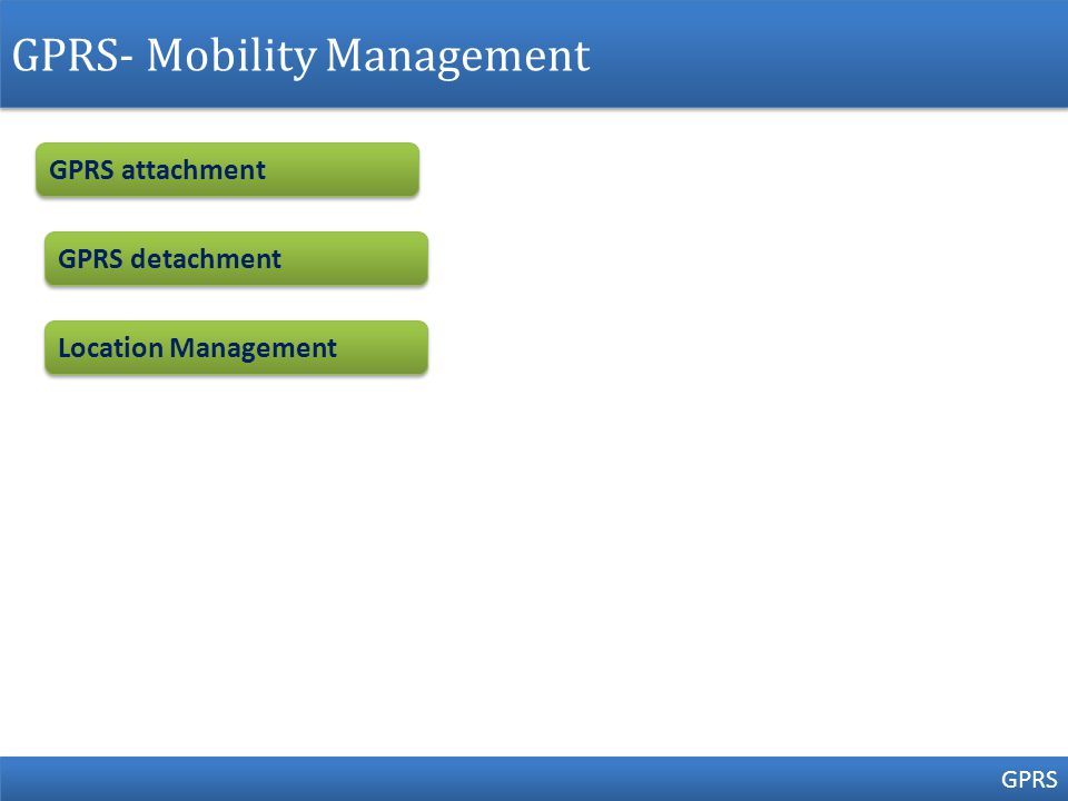 GPRS- Mobility Management GPRS GPRS attachment GPRS detachment Location Management