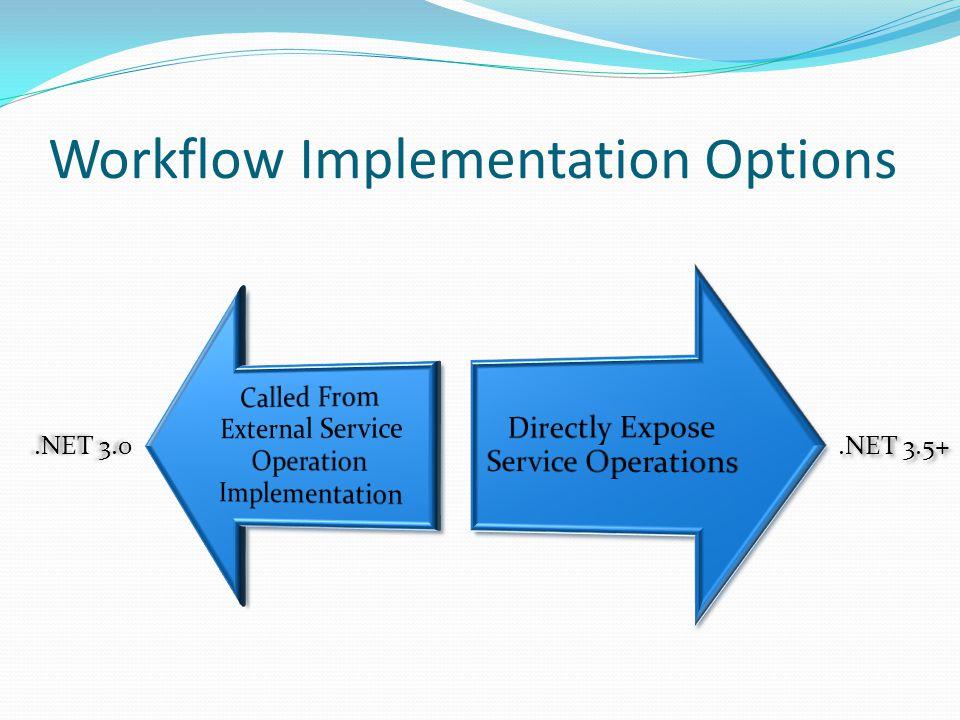 Workflow Implementation Options.NET 3.0.NET 3.5+