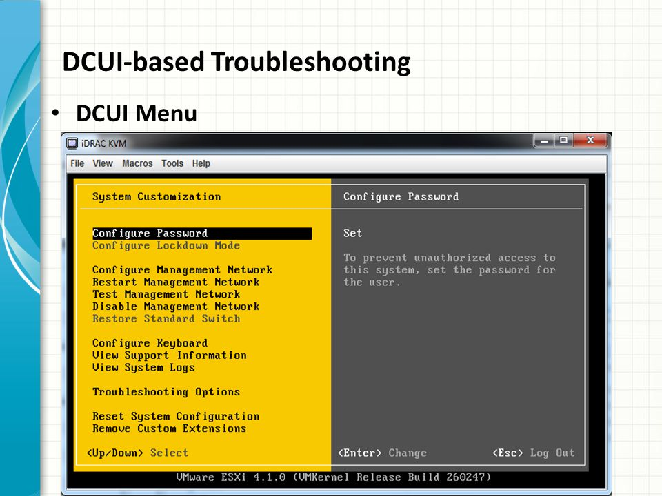 DCUI-based Troubleshooting DCUI Menu