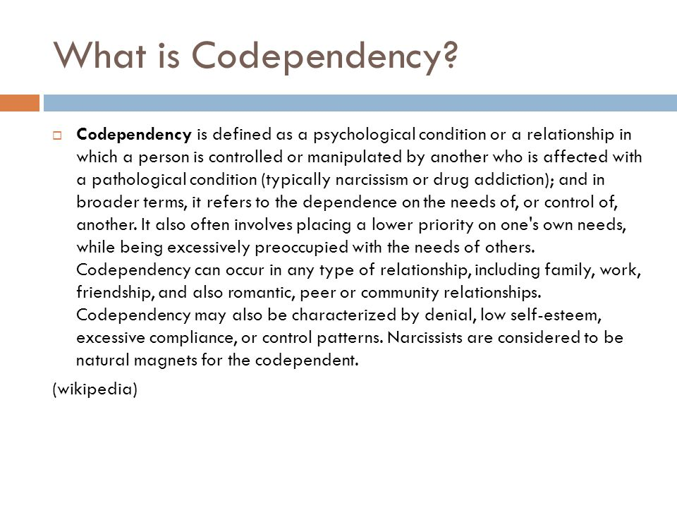 Signs of Codependency  taking responsibility for someone else's actions  worrying or carrying the burden for others' problems  covering up to protect others from reaping the consequences of their poor choices  doing more than is required at your job or at home to earn approval  feeling obligated to do what others expect without consulting one's own needs  manipulating others' responses instead of accepting them at face value  being suspicious of receiving love, not feeling worthy of being loved  in a relationship based on need, not out of mutual respect  trying to solve someone else's problems, or trying to change someone  life being directed by external rather than internal cues ( should do vs.