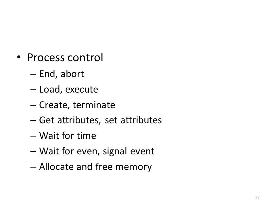 Process control – End, abort – Load, execute – Create, terminate – Get attributes, set attributes – Wait for time – Wait for even, signal event – Allo
