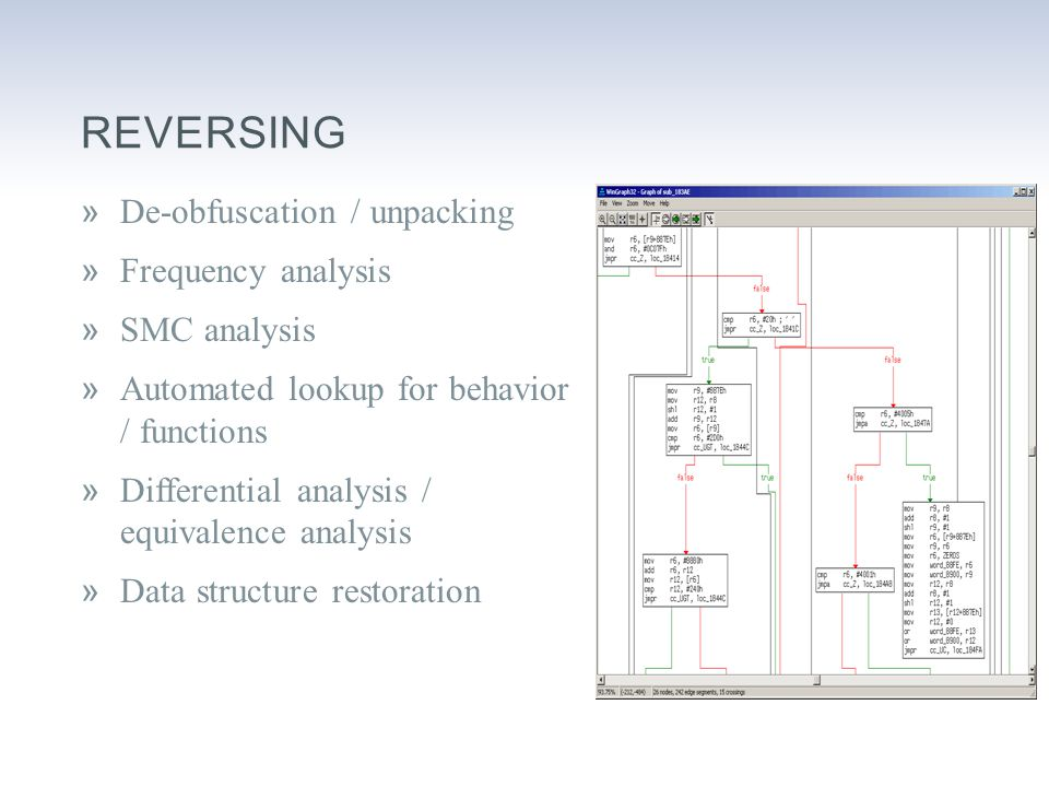 REVERSING »De-obfuscation / unpacking »Frequency analysis »SMC analysis »Automated lookup for behavior / functions »Differential analysis / equivalence analysis »Data structure restoration