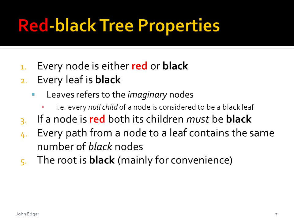  The algorithm to fix a red-black tree after deletion has four cases 1.