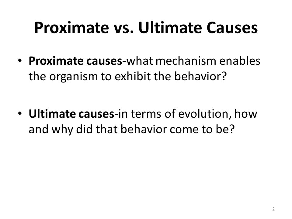 Proximate vs. Ultimate Causes Proximate causes-what mechanism enables the organism to exhibit the behavior? Ultimate causes-in terms of evolution, how