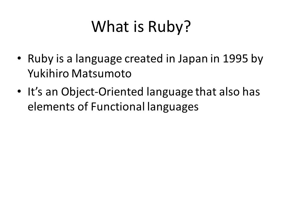 What is Ruby.