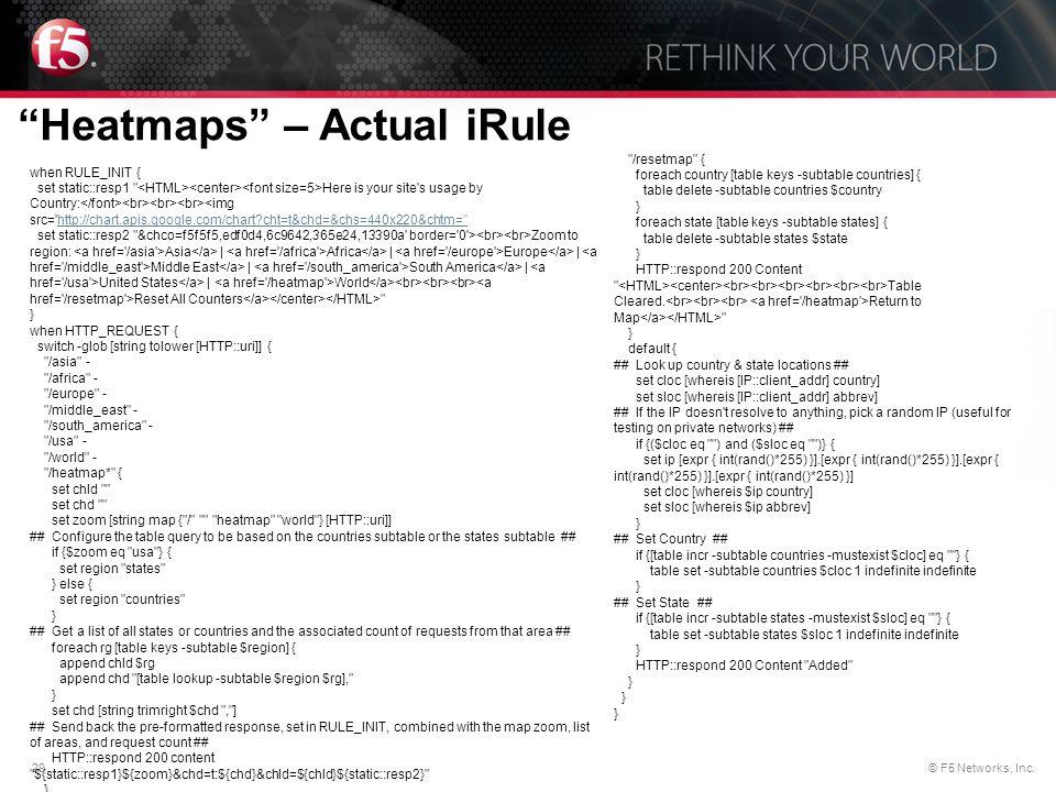 "29© F5 Networks, Inc. ""Heatmaps"" – Actual iRule when RULE_INIT { set static::resp1"
