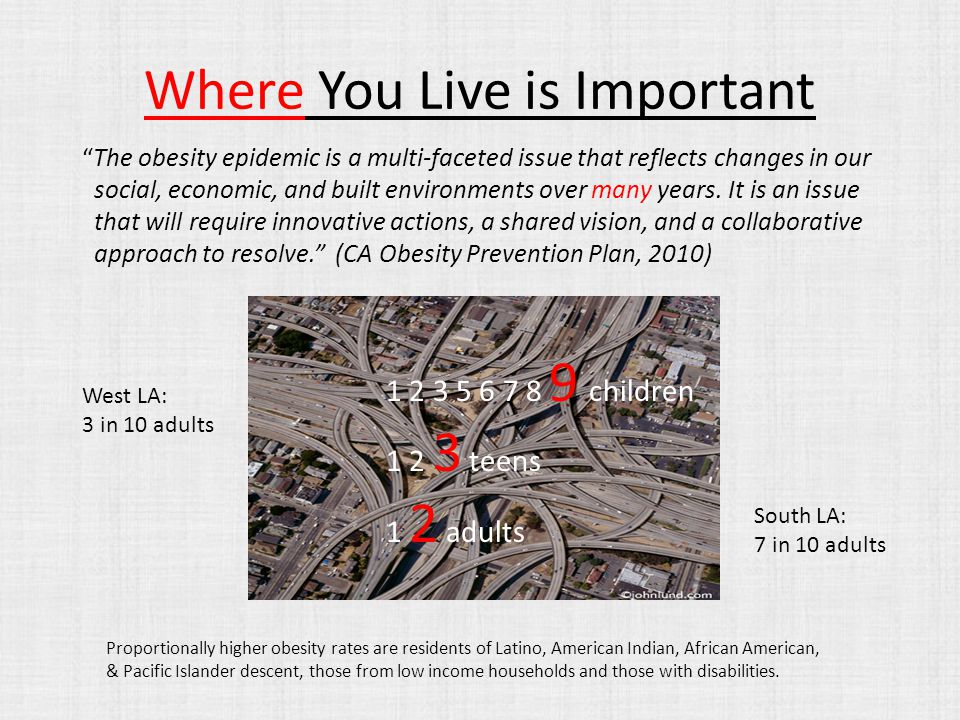 Where You Live is Important The obesity epidemic is a multi-faceted issue that reflects changes in our social, economic, and built environments over many years.