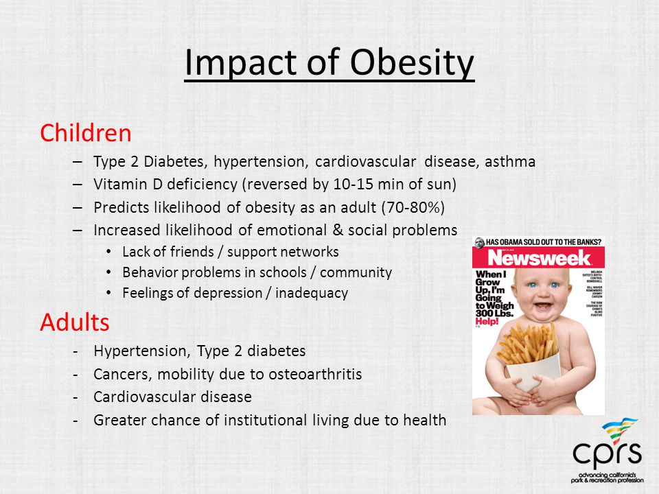 Impact of Obesity Children – Type 2 Diabetes, hypertension, cardiovascular disease, asthma – Vitamin D deficiency (reversed by 10-15 min of sun) – Pre