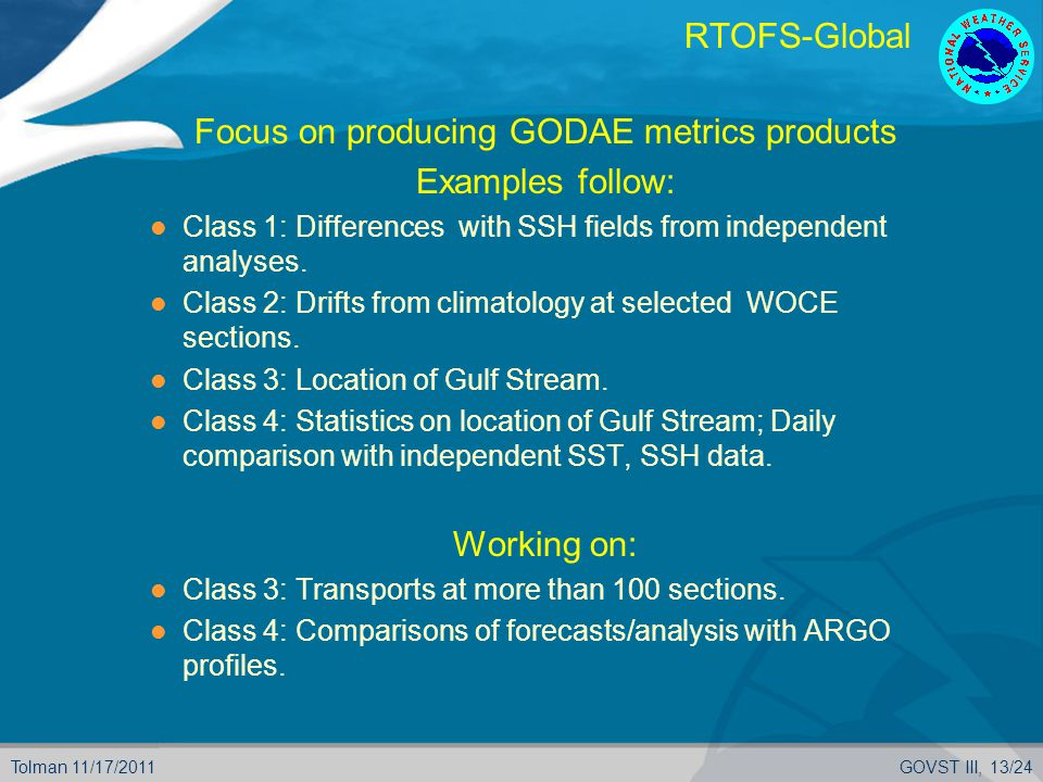 Tolman 11/17/2011GOVST III, 13/24 RTOFS-Global  Focus on producing GODAE metrics products  Examples follow: Class 1: Differences with SSH fields from independent analyses.