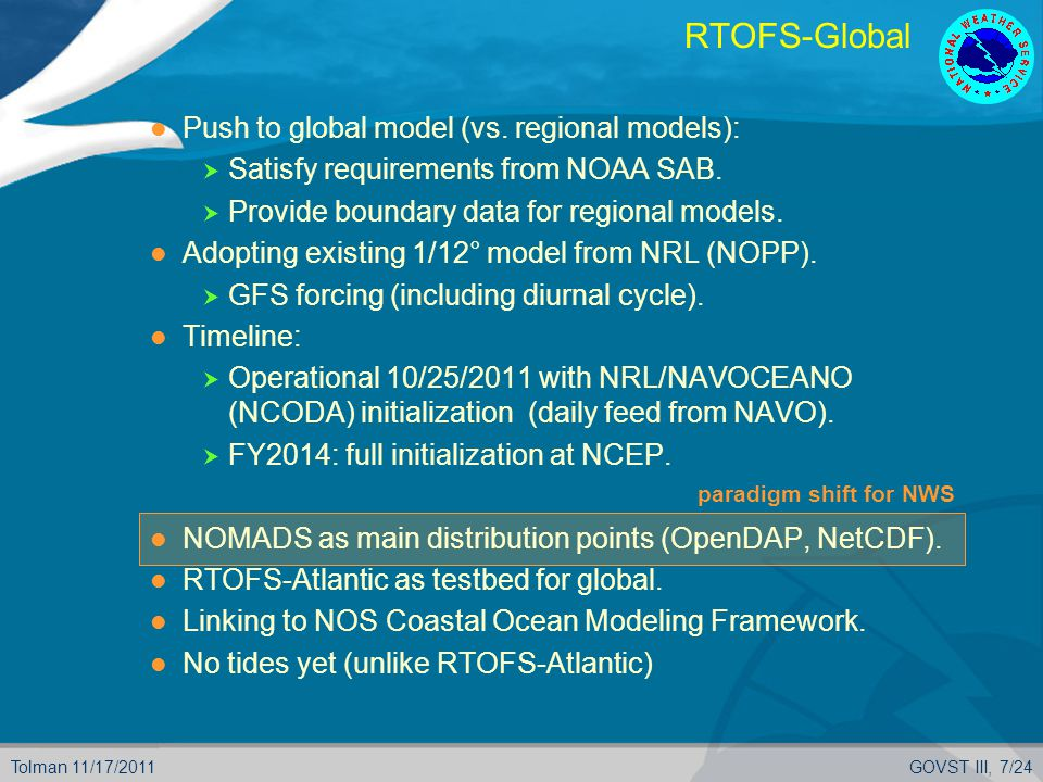 Tolman 11/17/2011GOVST III, 7/24 paradigm shift for NWS RTOFS-Global Push to global model (vs.