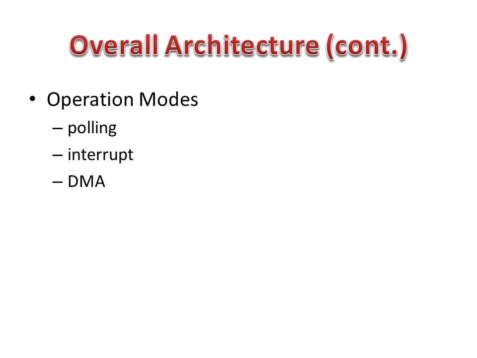 Operation Modes – polling – interrupt – DMA