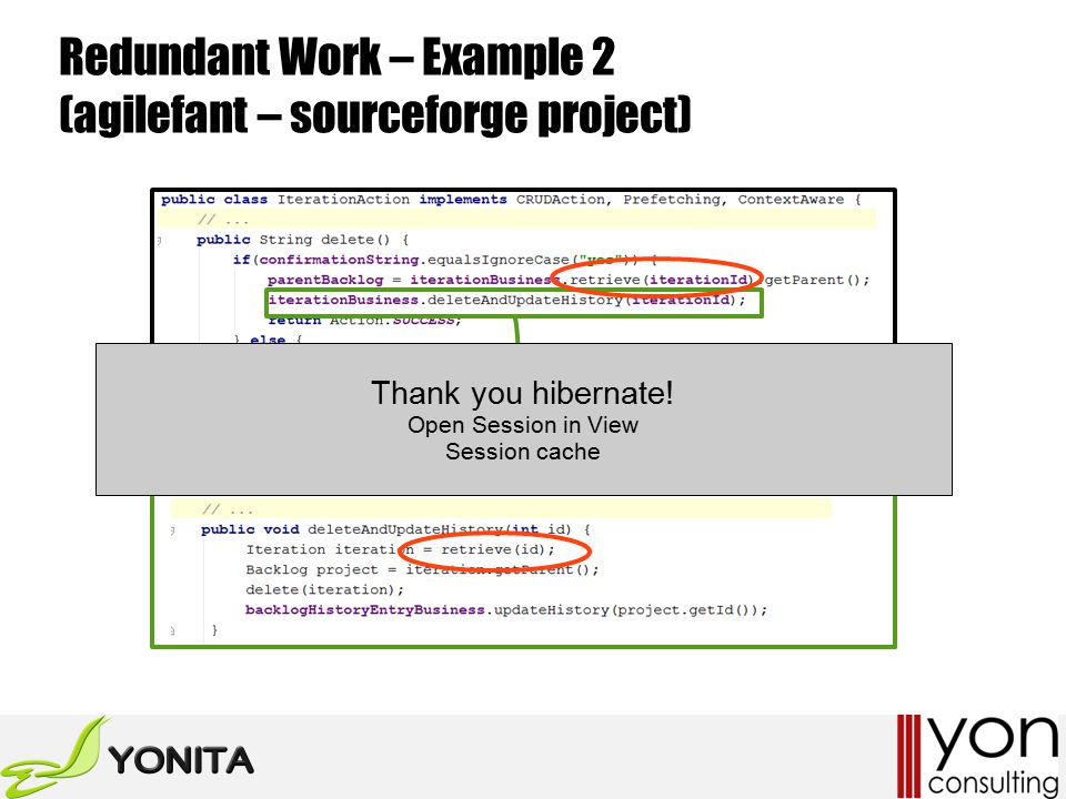 Redundant Work – Example 2 (agilefant – sourceforge project) Thank you hibernate.
