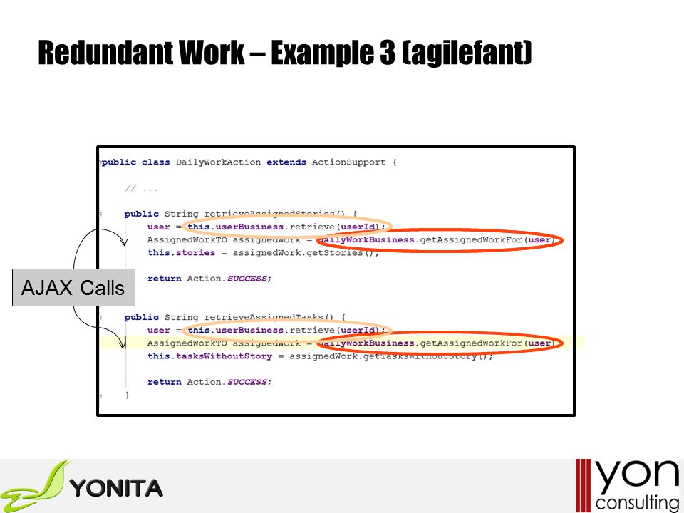 Redundant Work – Example 3 (agilefant) AJAX Calls
