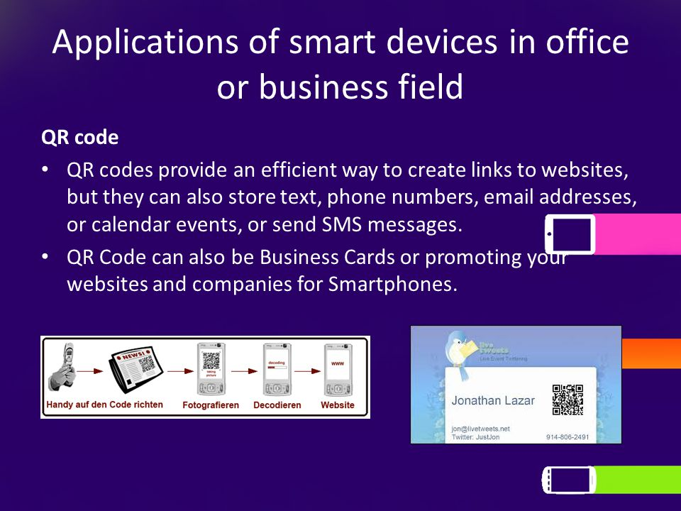 Applications of smart devices in office or business field QR code QR codes provide an efficient way to create links to websites, but they can also sto