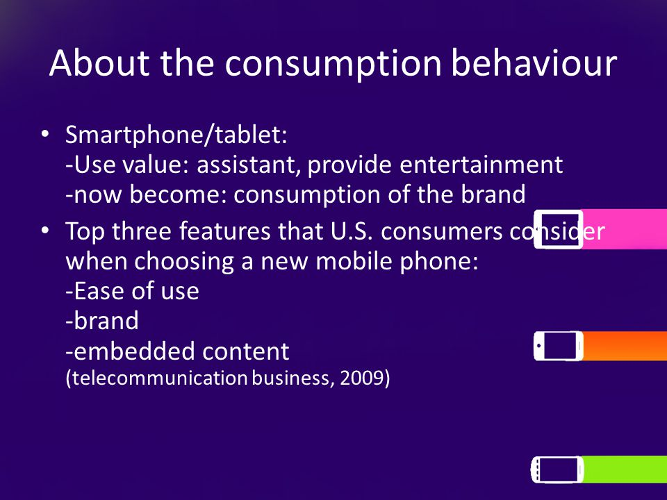 About the consumption behaviour Smartphone/tablet: -Use value: assistant, provide entertainment -now become: consumption of the brand Top three features that U.S.