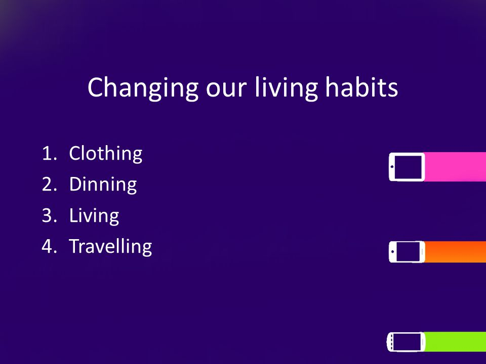 Changing our living habits 1.Clothing 2.Dinning 3.Living 4.Travelling