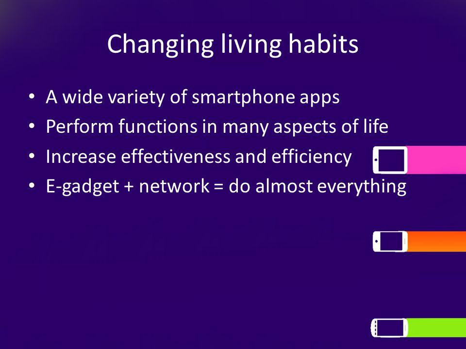 Changing living habits A wide variety of smartphone apps Perform functions in many aspects of life Increase effectiveness and efficiency E-gadget + network = do almost everything