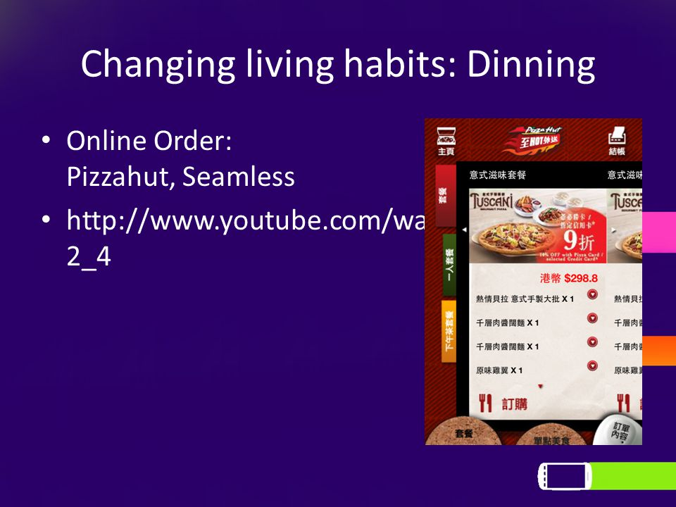 Changing living habits: Dinning Online Order: Pizzahut, Seamless http://www.youtube.com/watch?v=Axve1cKC 2_4