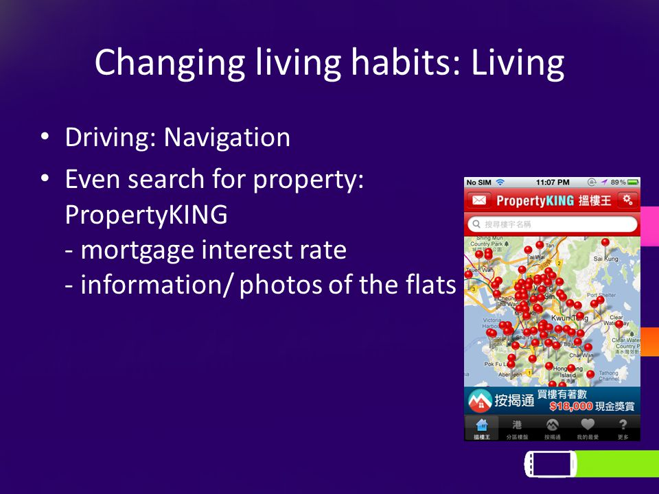 Changing living habits: Living Driving: Navigation Even search for property: PropertyKING - mortgage interest rate - information/ photos of the flats