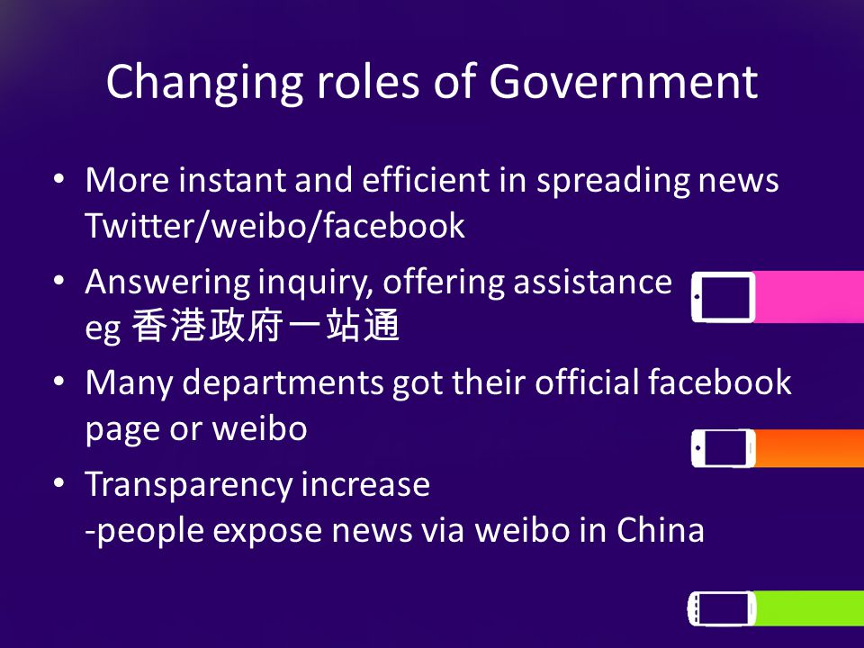 Changing roles of Government More instant and efficient in spreading news Twitter/weibo/facebook Answering inquiry, offering assistance eg 香港政府一站通 Many departments got their official facebook page or weibo Transparency increase -people expose news via weibo in China