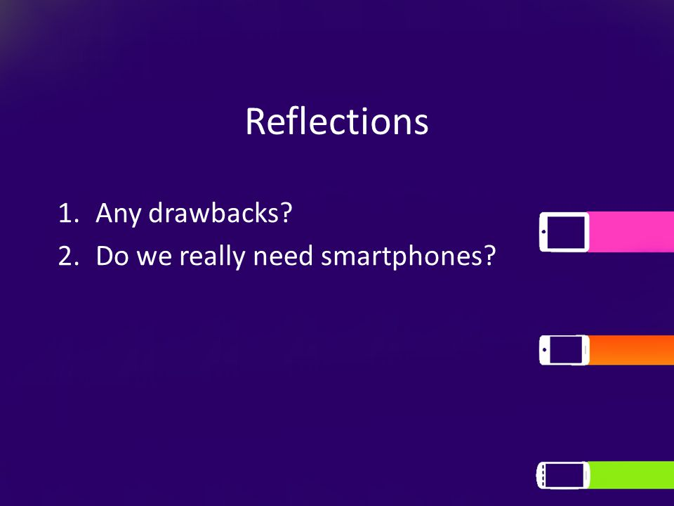 Reflections 1.Any drawbacks 2.Do we really need smartphones