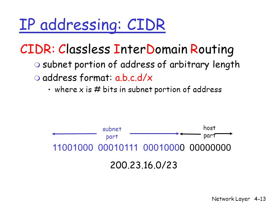 Network Layer4-13 IP addressing: CIDR CIDR: Classless InterDomain Routing m subnet portion of address of arbitrary length m address format: a.b.c.d/x