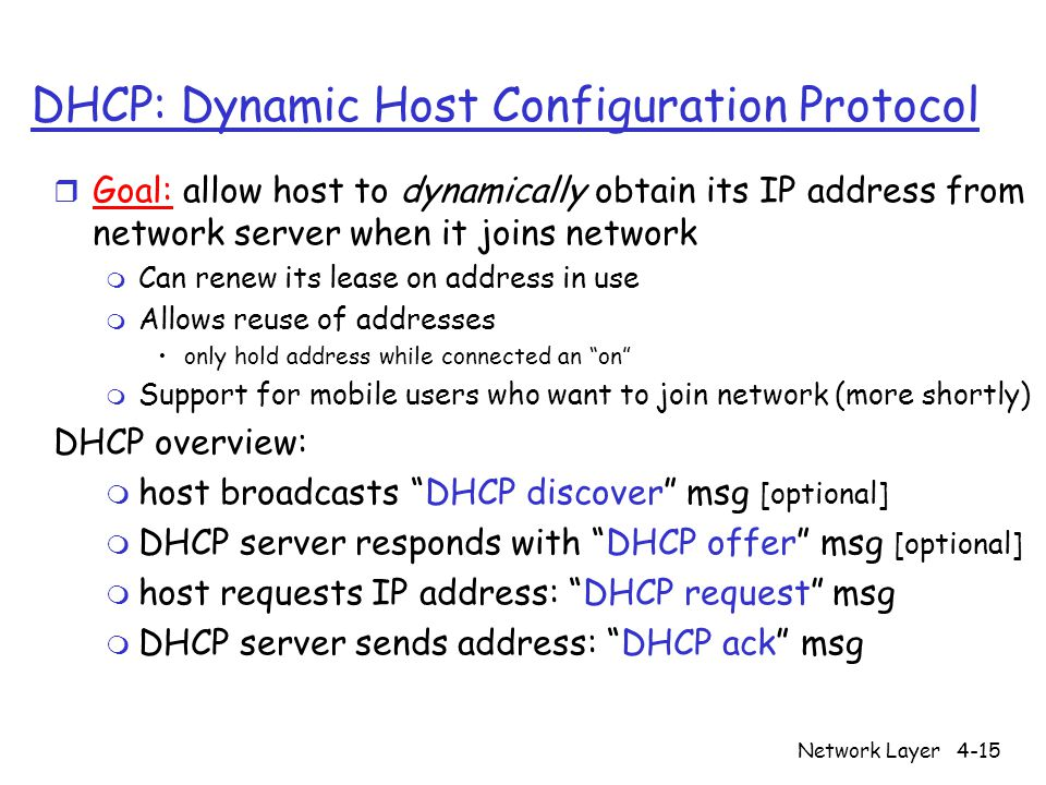 Network Layer4-15 DHCP: Dynamic Host Configuration Protocol r Goal: allow host to dynamically obtain its IP address from network server when it joins